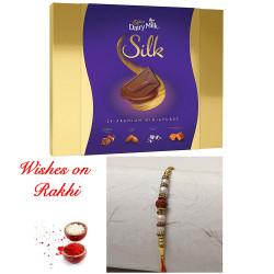 Cadbury Silk Miniatures Pack with Premium Rudraksh Rakhi