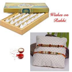 Fresh Kaju Katli with Set of Pearls and Rudraksh Rakhi