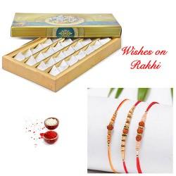 Fresh Kaju Katli with Set of 3 Premium Rakhis