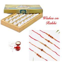 Fresh Kaju Katli with Set of 5 Rudraksh Rakhis