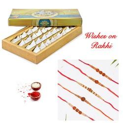 Kesar Katli with Set of 5 Rudraksh Rakhis