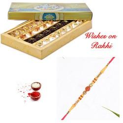 Assorted Kaju Sweets with Rudraksh Rakhi