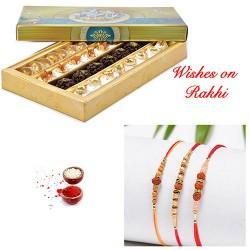 Special Kaju Mix Sweets with Set of 3 Premium Dazzling Rakhis