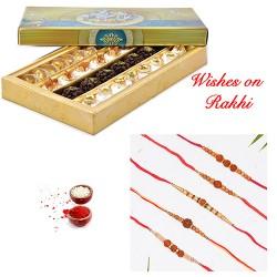 Special Kaju Mix Sweets with Set of 5 Rudraksh Rakhis