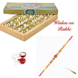 Exclusive Kamalbhog with Handcrafted Rudraksh Rakhi