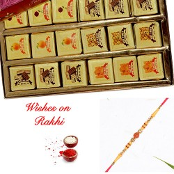 Mix Bites Pack with Premium Rudraksh Rakhi