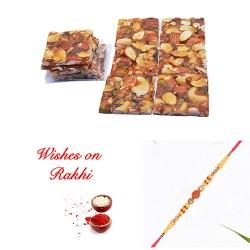 Dryfruit Chikki with Premium Rudraksh Rakhi