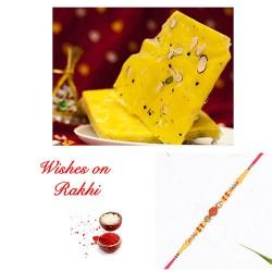 Bombay Ice Halwa with Rudraksh and American Diamonds Rakhi