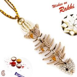 A Teenage Fashioned Lumba Rakhi with American Diamonds