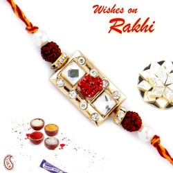 AD and Crystal Beads Studded Dual Rudraksh Rakhi