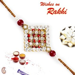 AD and Crystal Red Beads Studded Rakhi