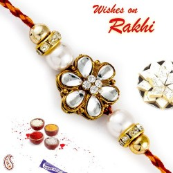 AD and Kundan Studded Pearl Rakhi