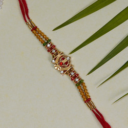 AD and Multicolor Beads Rakhi