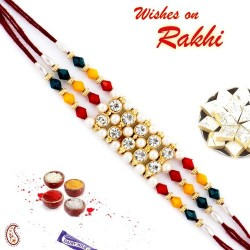 AD and Multicolor Beads Studded Triple Thread Rakhi