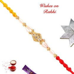 AD and Pearls Studded Lovely Rakhi