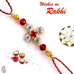 AD and Red Crystal Bead Studded Floral Style Rakhi