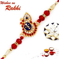 AD and Red Crystal Beads Studded Lord Motif Rakhi