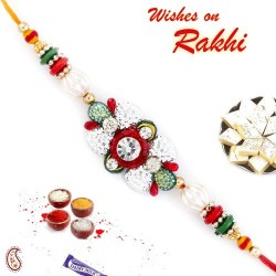 AD and Red Green Beads Studded Beautiful Rakhi
