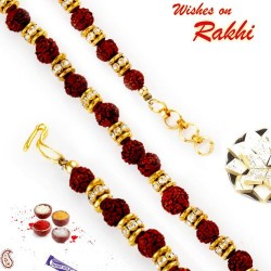 AD and Rudraksh Embellished Bracelet Rakhi