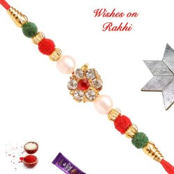 AD Coloring Gotta with Pearls and Beads Rakhi