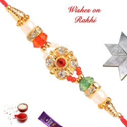 AD Crystal and Beads Work Rakhi