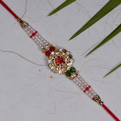 AD Pearls and Multicolor Crystal Rakhi