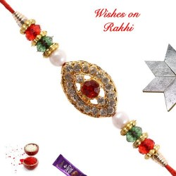 AD Stones Crystals and Beads Studded Rakhi