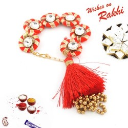 AD Stud Red Gota Traditional Lumba Rakhi with Golden Beads