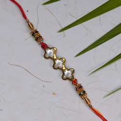 AD Studded 3 Flowers with Coloring Beads Rakhi