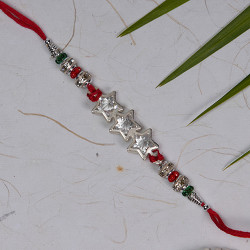 AD Studded 3 Stars Rakhi with Multicolor Beads