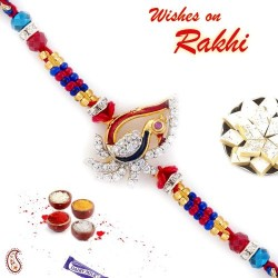 AD Studded and Embellished Peacock Style Rakhi