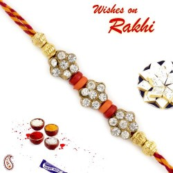AD Studded Beautiful Rakhi with Multicolour Beads