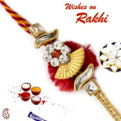 AD Studded Beautiful Red Base Zardosi Rakhi
