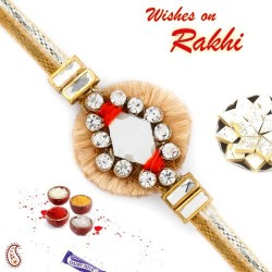 AD Studded Beautiful Zardosi Rakhi with Beige Base