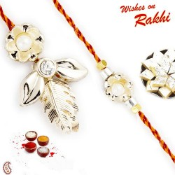 AD Studded Bhaiya Bhabhi Rakhi with 2 Kids Rakhi