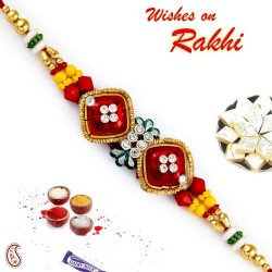 AD Studded Dual Red Square Base Rakhi