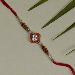 AD Studded Floral Motif with Pearls and Beads Rakhi