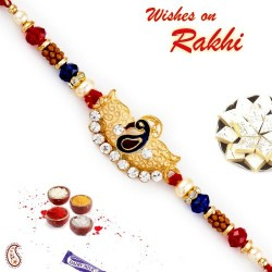AD Studded Gold and Blue Peacock Motif Rakhi