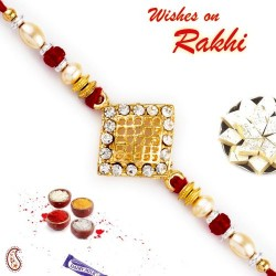 AD Studded Jaal Pattern Jewelled Rakhi
