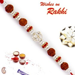 AD Studded Quadra Rudraksh Rakhi