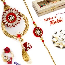 AD Studded Red and Gold Bhaiya Bhabhi Rakhi Set