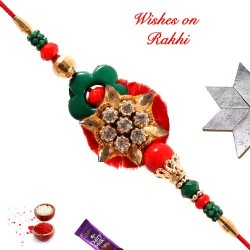 AD with Colored Beads Rakhi