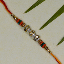 AD with Pearls and Beads Studded Rakhi