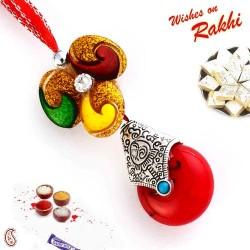 Alluring Red Drop Bead Lumba Rakhi