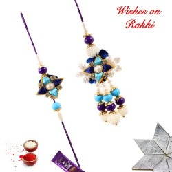 Amazing AD Pearls and Beads Bhaiya Bhabhi Rakhi Set