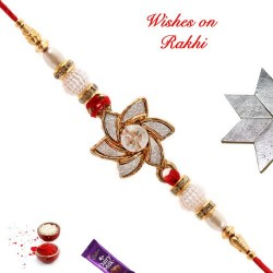 Amazing AD Pearls and Beads Rakhi