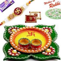 Amazing Yellow and Green Floral Design Rakhi Pooja Thali with Rakhi