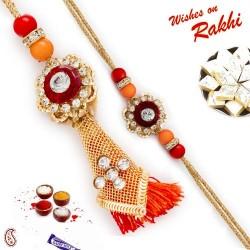 American Diamond Metallic Bhaiya Bhabhi Rakhi Set