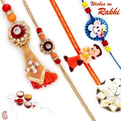 American Diamond Metallic Bhaiya Bhabhi Rakhi Set with 2 Kids Rakhi