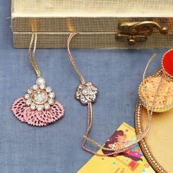 American Diamond Stud with Pink Cutwork Base Bhaiya Bhabhi Rakhi Set